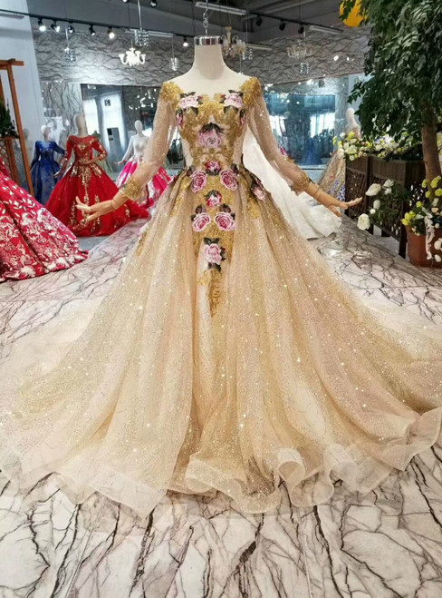 Champagne Gold Tulle Sequins Embroidery Long Sleeve Wedding Dress