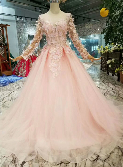 Pink Ball Gown Tulle Long Sleeve Backless Appliques Wedding Dress