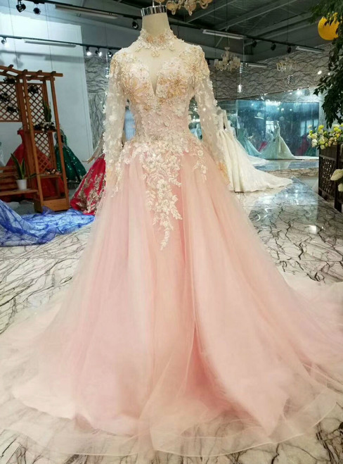 Pink Tulle High Neck Long Sleeve Appliques Princess Wedding Dress