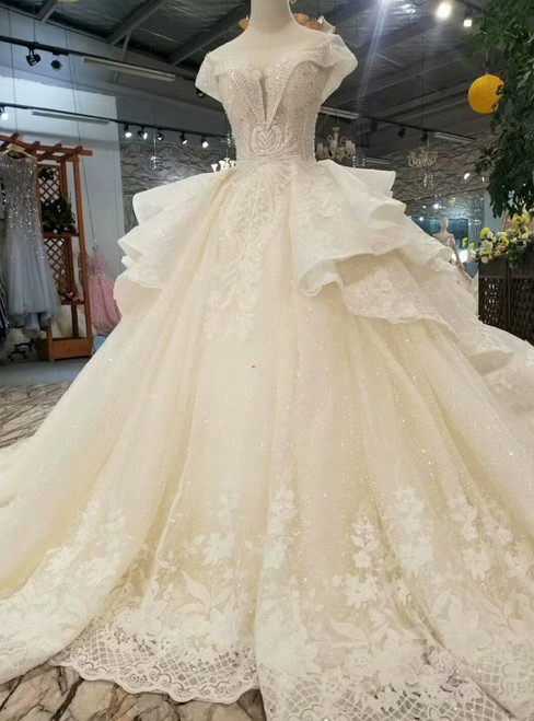 Light Champagne Tulle Sequins Appliques Bateau Cap Sleeve Wedding Dress
