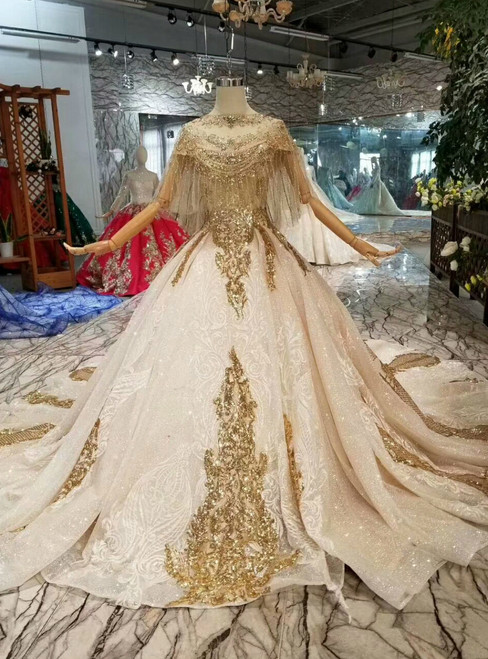 Champagne Ball Gown Tulle Sequins Off The Shoulder Wedding Dress With Shawl