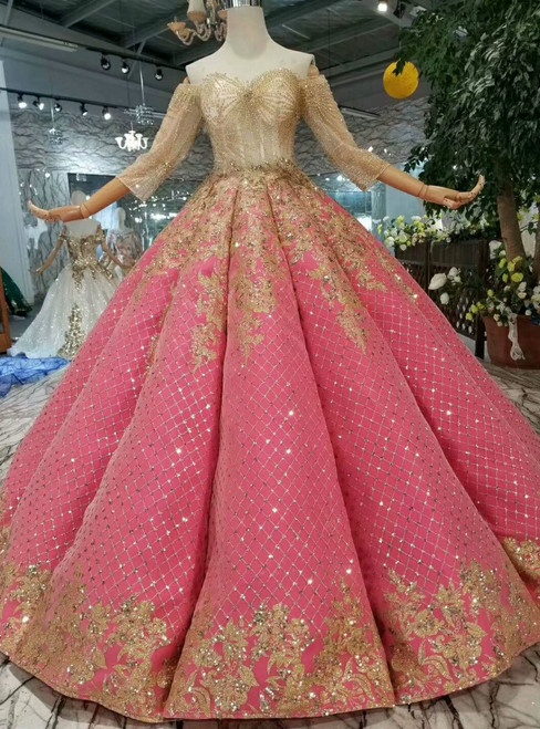 Red Ball Gown Seuqins Off The Shoulder Short Sleeve Wedding Dress With Beading
