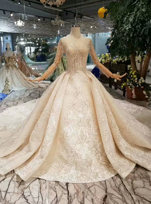 Champagne Ball Gown Tulle Sequins Long Sleeve Wedding Dress With Long Train