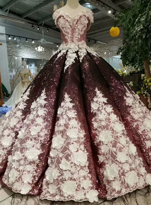 Burgundy Ball Gown Sequins Off The Shoulder Appliques Wedding Dress