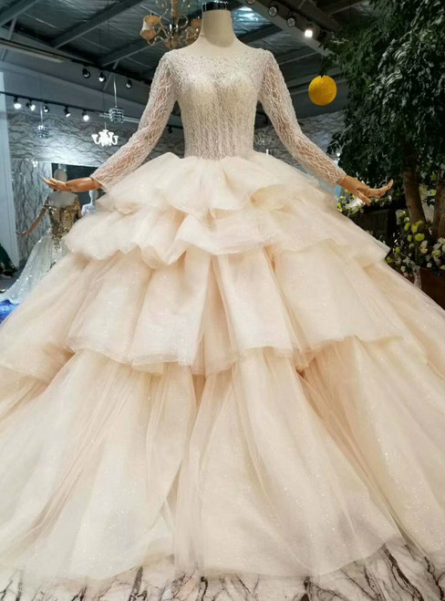 Champagne Tulle Bateau Long SLeeve Backless Beading Wedding Dress
