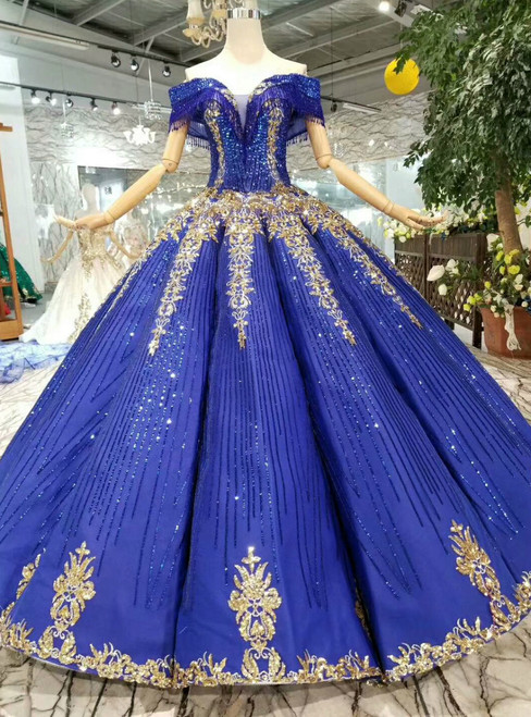 Royal Blue Sequins Off The Shoulder Gold Sequins Appliques Wedding Dress With Beading
