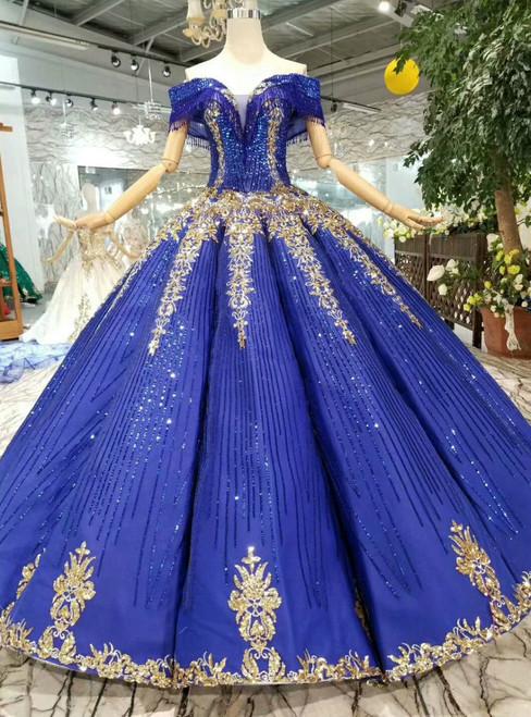 Royal Blue Sequins Off The Shoulder Gold Sequins Appliques Wedding