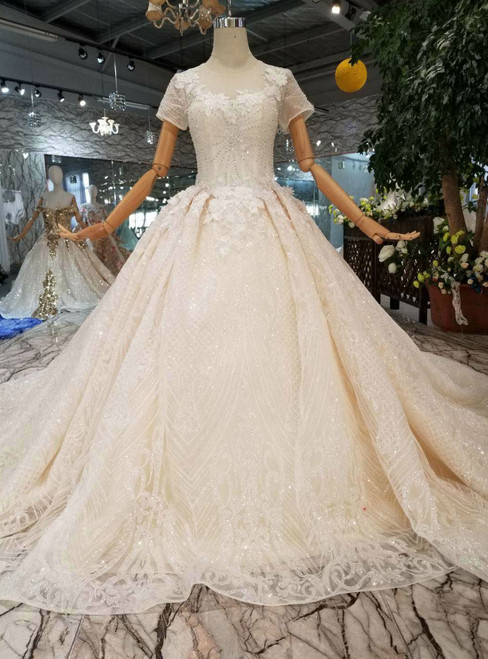 Tulle Sequins Short Sleeve Appliques Champagne Wedding Dress With Beading