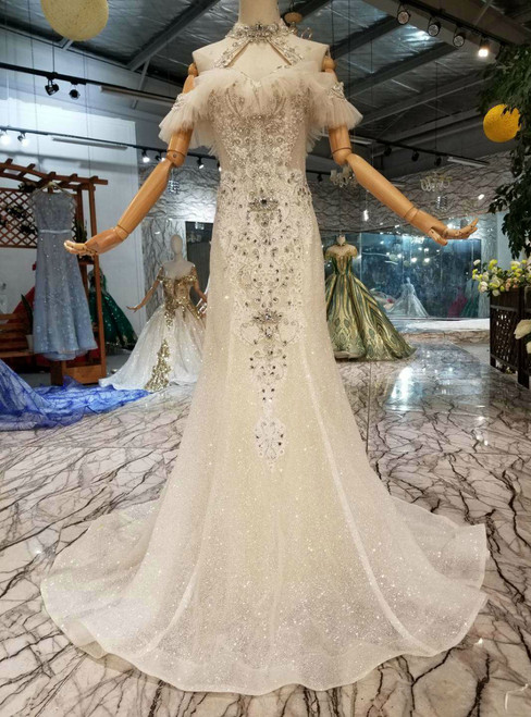 Champagne Mermaid Tulle Sequins Halter Wedding Dress With Crystal