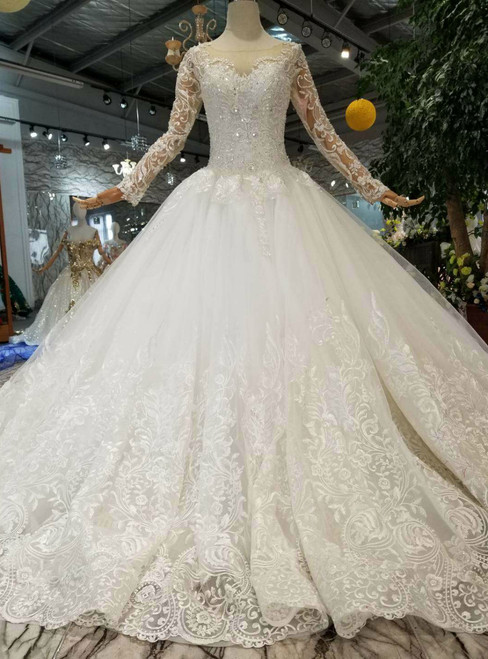 Ivory White Tulle Lace Appliques Long Sleeve Wedding Dress With Beading