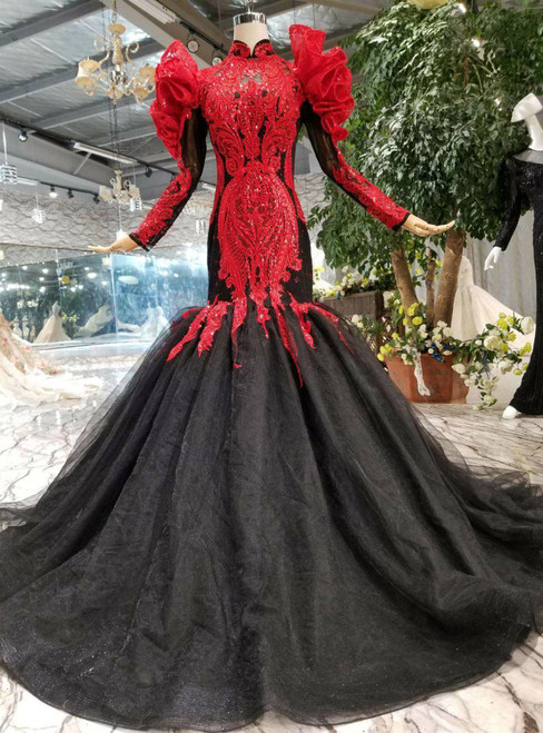 Black Mermaid Tulle Sequins Appliques Long Sleeve Wedding Dress With Removable Shoulder Ornament