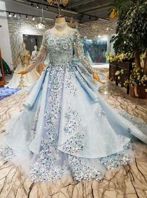 Blue Ball Gown Tulle High Neck Long Sleeve Embroidery Appliques Wedding Dress