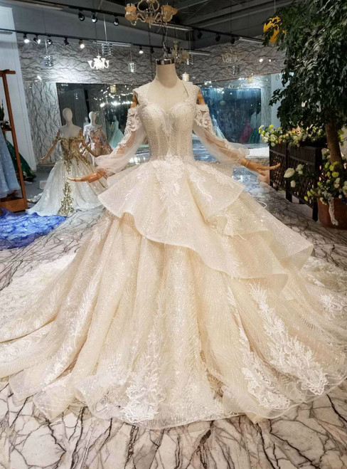 Champagne Ball Gown Tulle Sequins Sweetheart Long Sleeve Appliques Wedding Dress