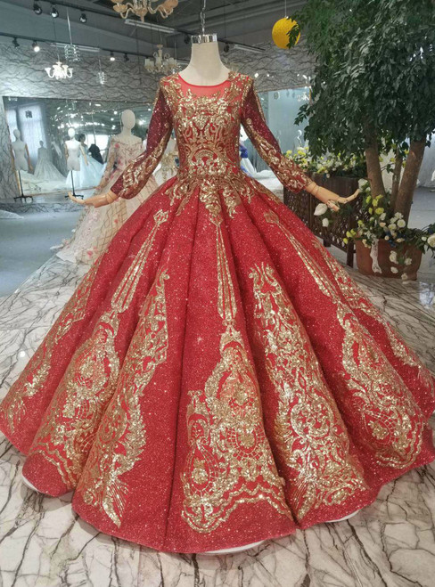 Red Ball Gown Sequins Long SLeeve Sequins Appliques Wedding Dress