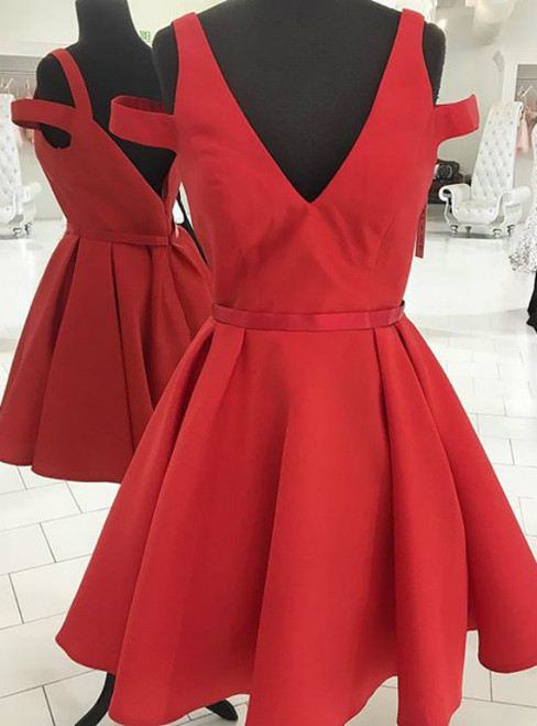 Off Shoulder V-neck Short Homecoming Dress Red A line Graduation Dress