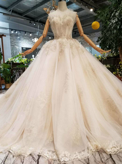 Champagne Tulle Sweetheart Appliques Wedding Dress With Beading