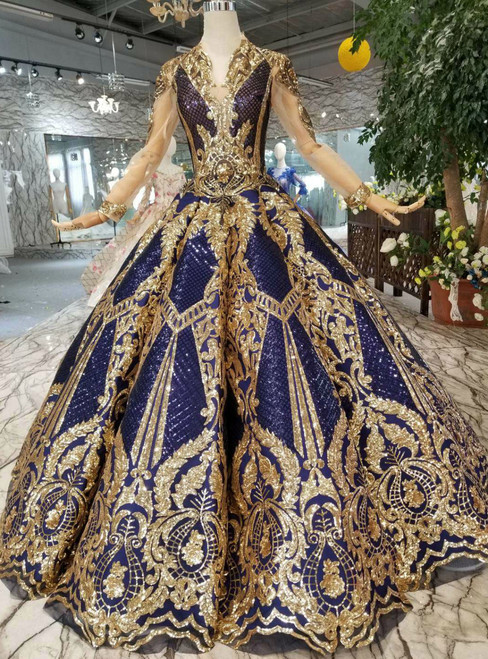 Blue Ball Gown Sequins Gold Sequins Appliques V-neck Long Sleeve Wedding Dress