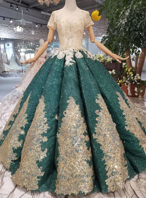 Green Ball Gown Sequins Short Sleeve Appliques Wedding Dress With Beading