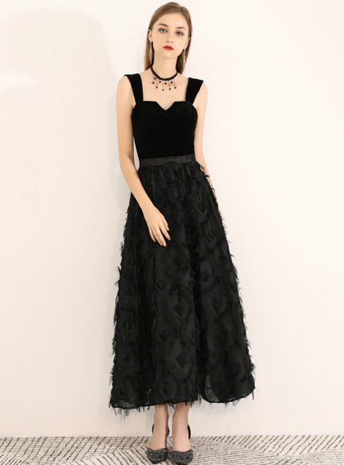 In Stock:Ship in 48 Hours Black Straps Backless Tea Length Prom Dress