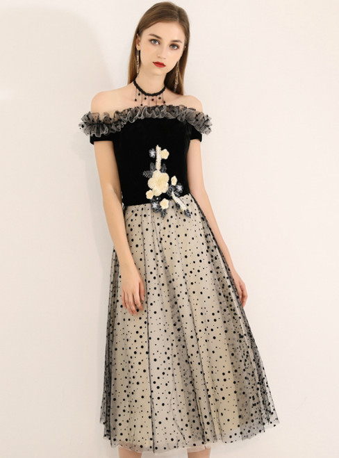 In Stock:Ship in 48 Hours Black Tulle Wave Point Off the Shoulder Prom Dress