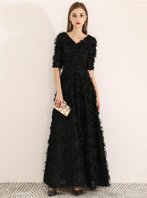 In Stock:Ship in 48 Hours Black V-neck Short Sleeve Prom Dress