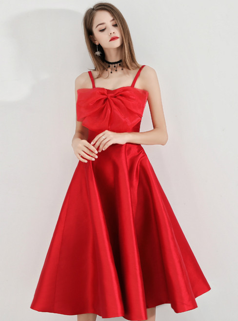 In Stock:Ship in 48 Hours Red Spaghetti Straps Satin Short Prom Dress