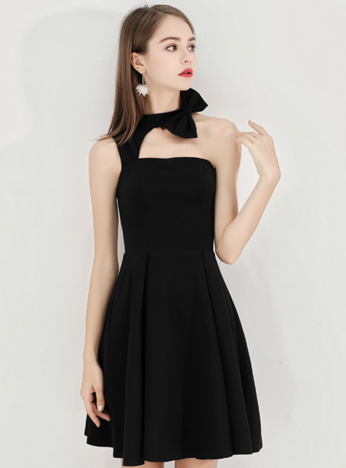 In Stock:Ship in 48 Hours Black Satin Halter Homecoming Dress With Bow