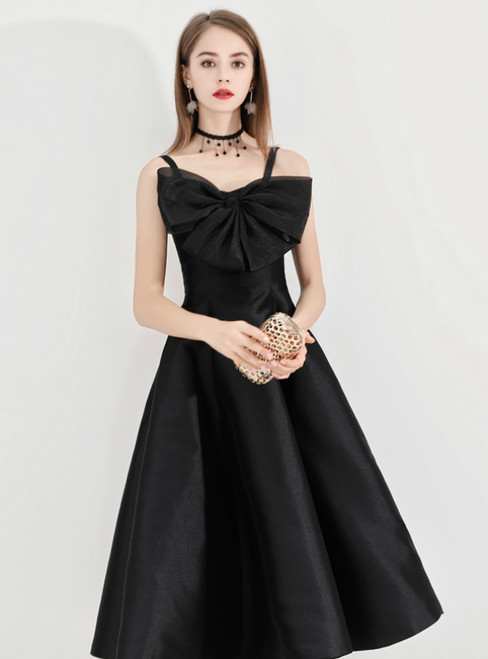 In Stock:Ship in 48 Hours Black Spaghetti Straps Satin Short Prom Dress