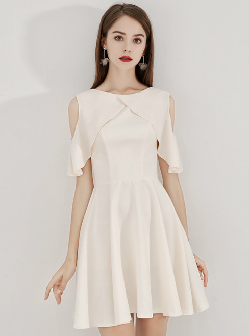 In Stock:Ship in 48 Hours Champagne Satin Short Homecoming Dress