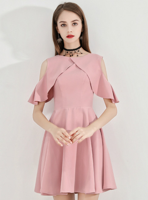 In Stock:Ship in 48 Hours Pink Satin Short Homecoming Dress