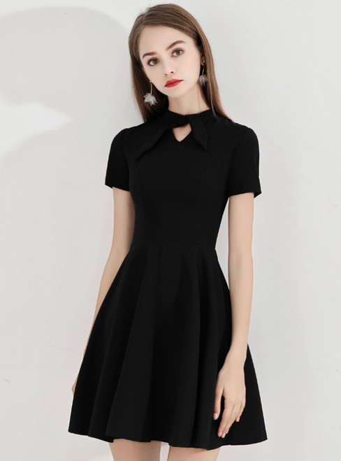 In Stock:Ship in 48 Hours Black Satin Short Sleeve Homecoming Dress