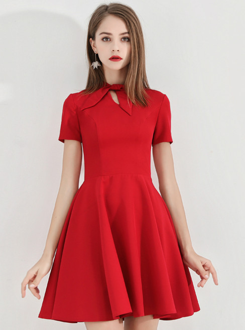 In Stock:Ship in 48 Hours Red Satin Short Sleeve Homecoming Dress