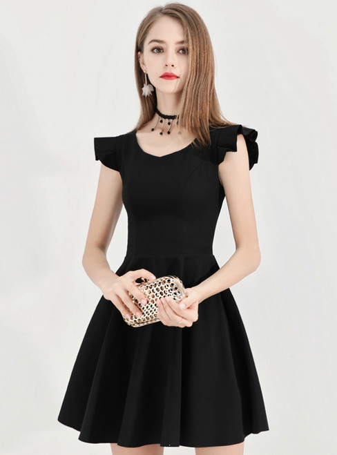 In Stock:Ship in 48 Hours Black V-neck Satin Short Homecoming Dress