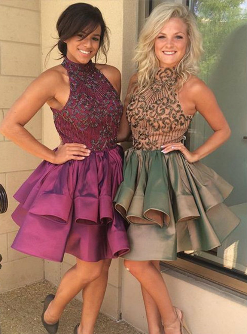 Cute A-Line High Neck Short Homecoming Dress with Sequins