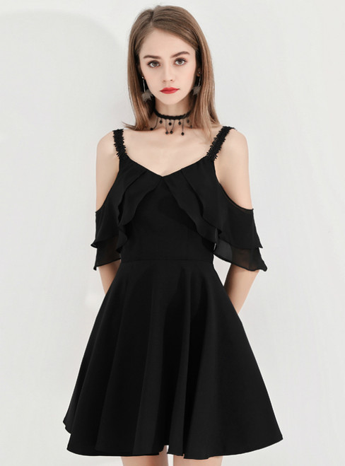 In Stock:Ship in 48 Hours A-Line Black Straps Short Homecoming Dress