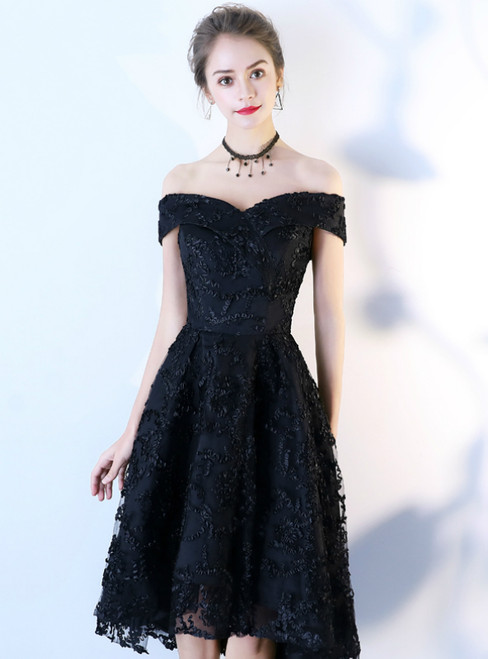 In Stock:Ship in 48 Hours Black Hi Lo Off the Shoulder Short Prom Dress