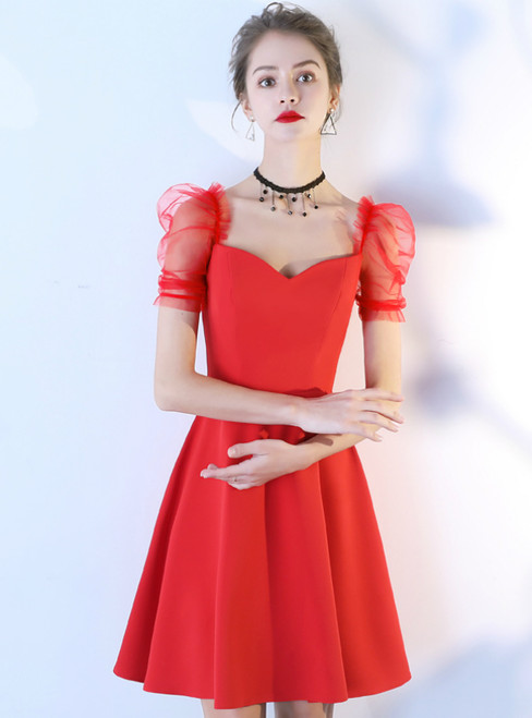 In Stock:Ship in 48 Hours A-Line Red Satin Puff Sleeve Homecoming Dress