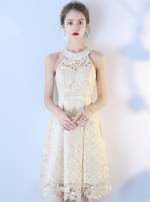 In Stock:Ship in 48 Hours Champagne Lace Halter Homecoming Dress