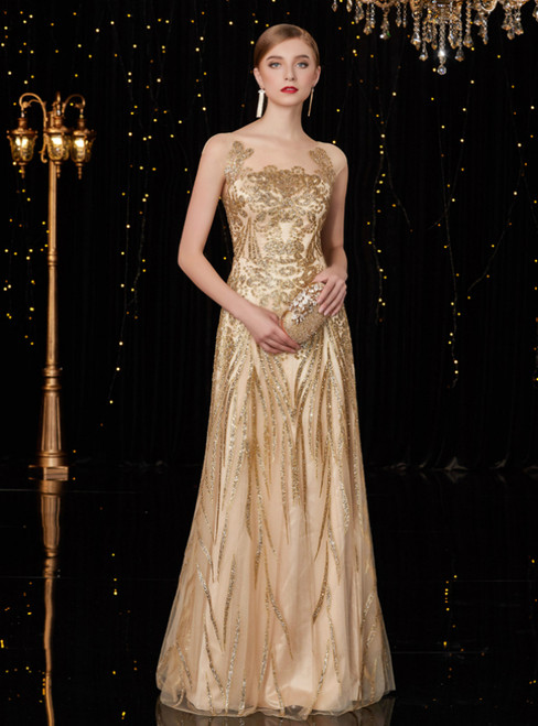 A-Line Champagne Gold Tulle Sequins Long Mother Of The Bride Dresses