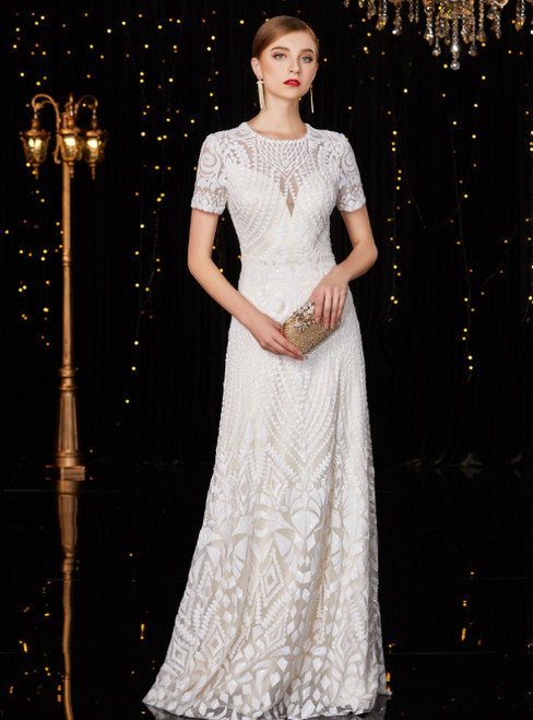 A-Line White Sequins Short Sleeve Elegant Mother Of The Bride Dresses