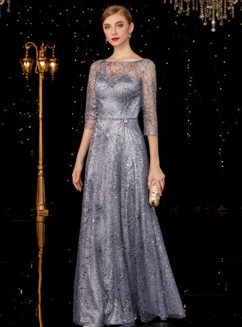 A-Line Silver Gray Tulle Sequins Half Sleeve Backless Long Mother Of The Bride Dress