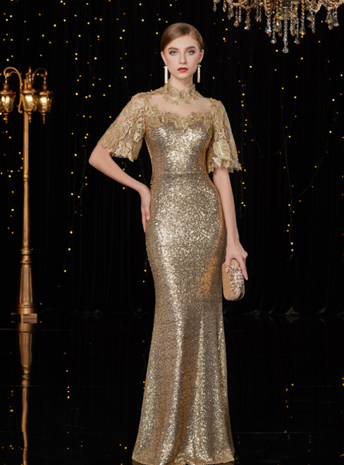 Gold Mermaid Sequins High Neck Short Sleeve Long Mother Of The Bride Dress