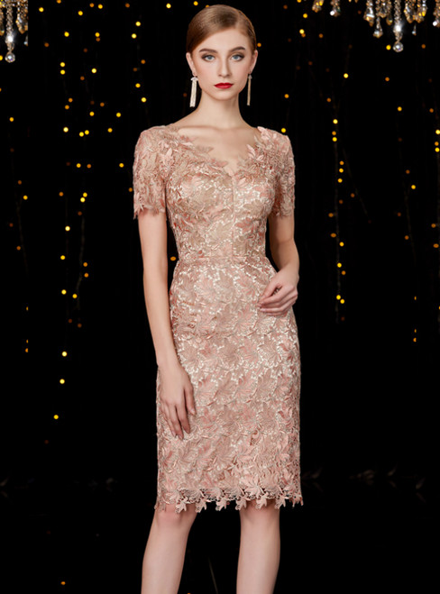 Sheath Champagne Lace V-neck Short Sleeve Mother Of The Bride Dresses 2019