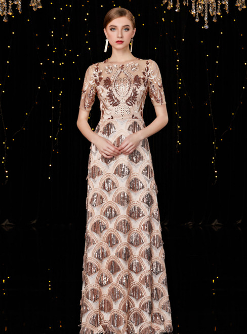 A-Line Champagne Gold Sequins Short Sleeve Mother Of The Bride Dress