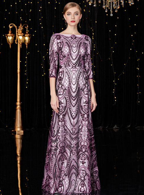 A-Line Purple Sequins Half Sleeve Long Mother Of The Bride Dress