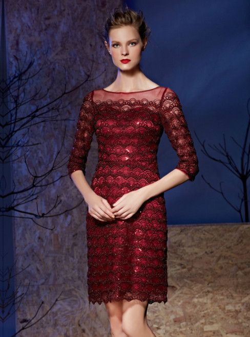 Burgundy Sheath Lace 3/4 Sleeve Sequins Mother Of The Bride Dress
