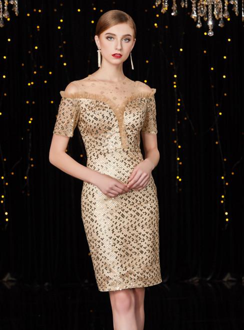 Gold Sheath Sequins Cold Shoulder Short Sleeve Mother Of The Bride Dress
