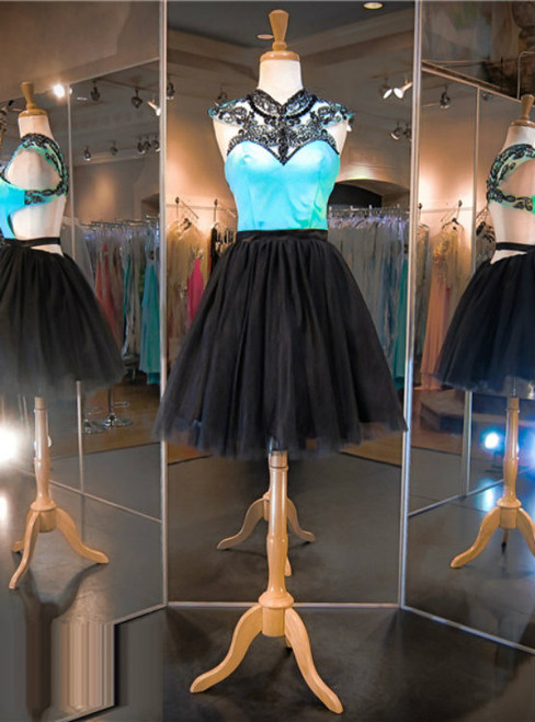Two Tones Prom Dress Short Prom Dress Black Prom Dress  Blue Prom Dress,Sexy Prom Dress