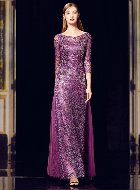 A-Line Purple Sequins Tulle 3/4 Sleeve Appliques Long Mother Of The Bride Dress
