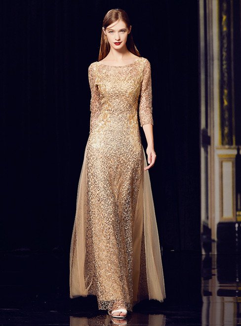 A-Line Champagne Gold Sequins Tulle 3/4 Sleeve Appliques Long Mother Of The Bride Dress